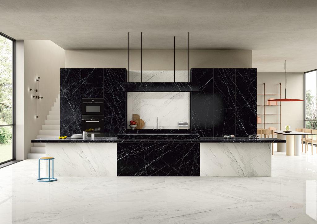 Marble đen tia chớp ốp trang trí phòng bếp