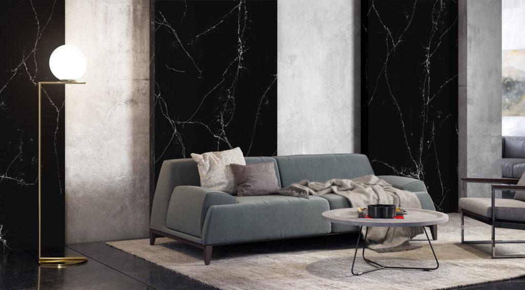 Marble đen tia chớp ốp trang trí phòng khách