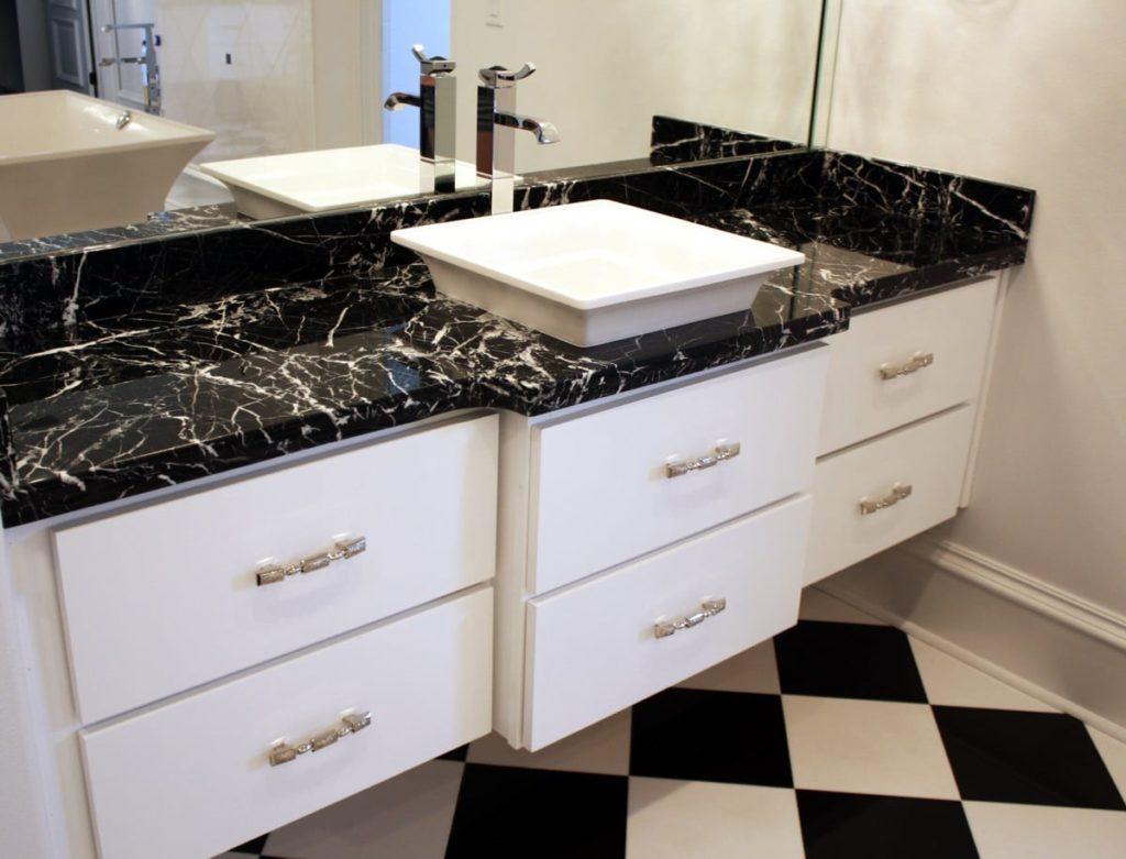 Marble đen tia chớp làm bàn chậu lavabo