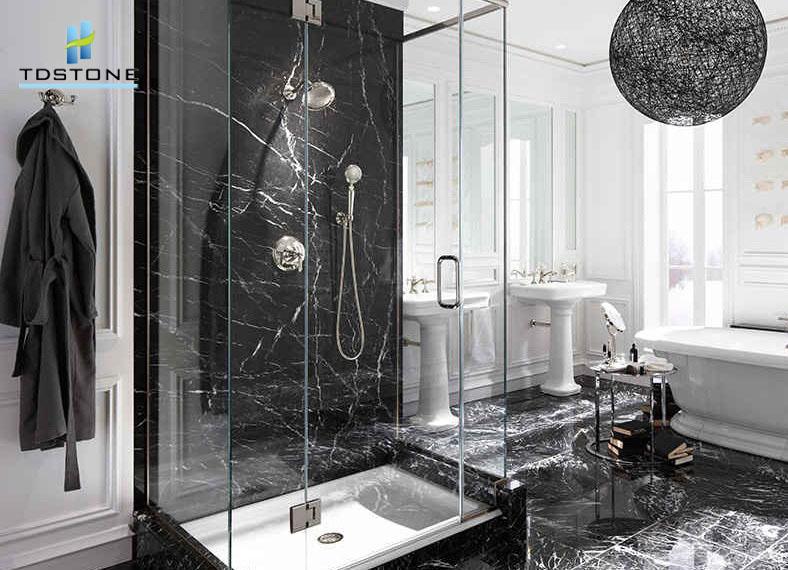 Marble đen tia chớp ốp trang trí phòng tắm