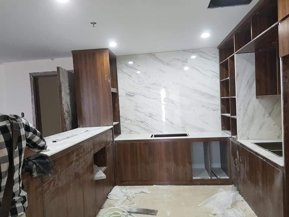 Mặt đá tủ bếp trắng