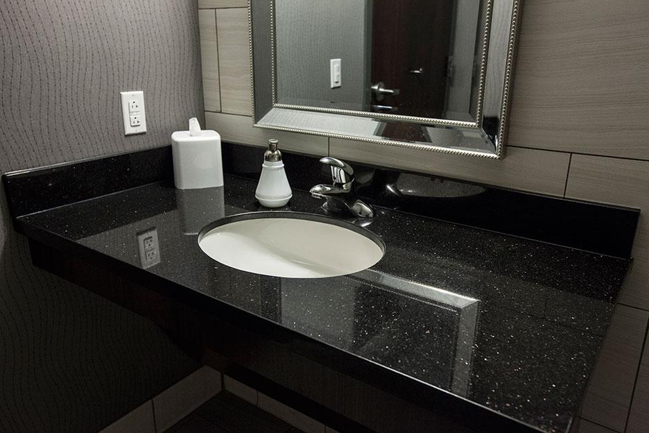 Granite đen kim sa làm bàn chậu lavabo
