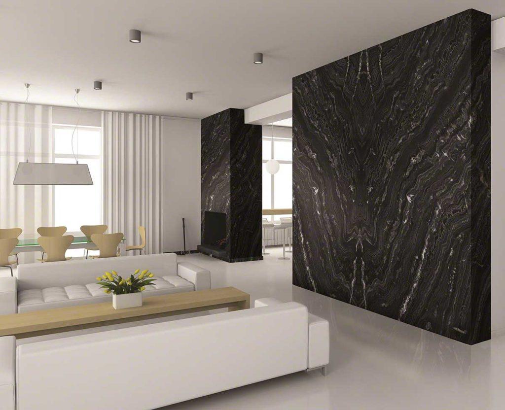 Thiết kế đen trắng kết hợp giữa đá tự nhiên